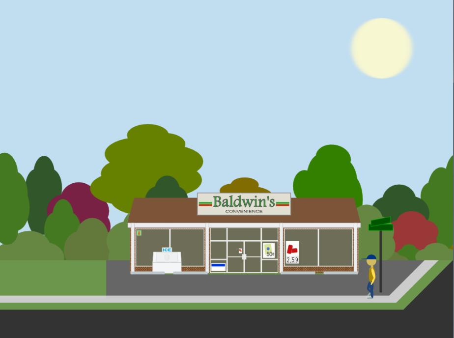 Exterior of Baldwin's Convenience Store